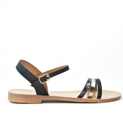 Sandale plate noire à trio-brides
