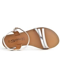 Sandale plate blanche à trio-brides