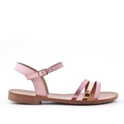 Sandale plate rose à trio-brides