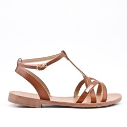 Camel flat sandal in faux leather