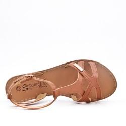 Sandale plate camel en simili cuir
