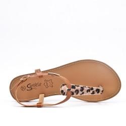 Sandale Tong léopard en simili cuir