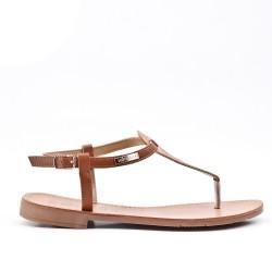 Camel imitation leather sandal