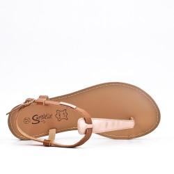 Sandale Tong camel en simili cuir