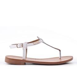 Sandale Tong blanche en simili cuir
