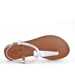 White imitation leather sandal