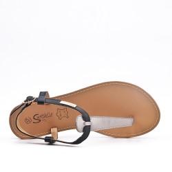 Sandale Tong noire en simili cuir