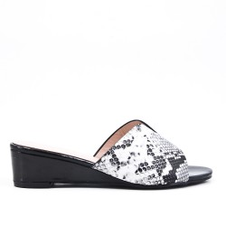 Snake print imitation leather mule