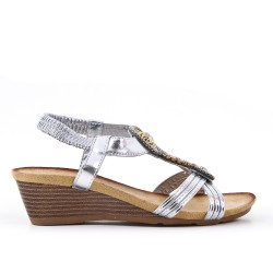 Silver sandal with small wedge