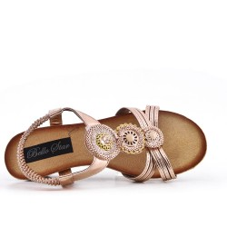 Champagne sandal with small wedge