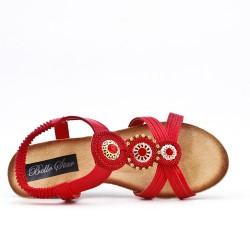 Sandalia rojo y cuña pequeña