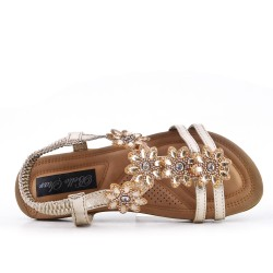 Golden comfort sandal with rhinestones