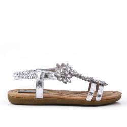 Sandalia plata confort con pedreria
