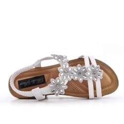 Sandalia blanca confort con pedreria