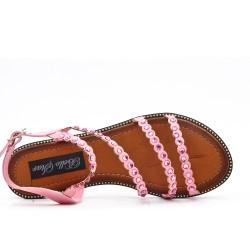 Sandalia plana rosa con diamantes de imitación