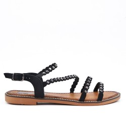 Black flat sandal with rhinestones