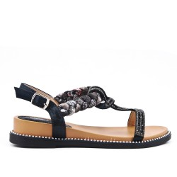 Black comfort sandal with rhinestones