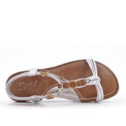 Sandalia de cuña plata con suela de confort