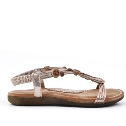 Sandalia de cuña oro con suela de confort