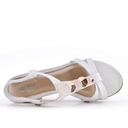 White sandal with small wedge