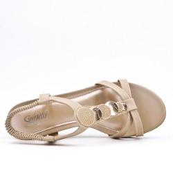 Sandale beige à petit compensé