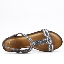 Gray sandal with rhinestones and small wedge