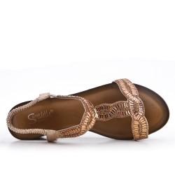 Sandalia oro con strass y cuña pequeña