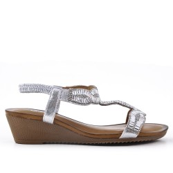 Silver sandal with rhinestones and small wedge
