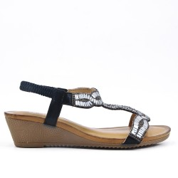 Black sandal with rhinestones and small wedge