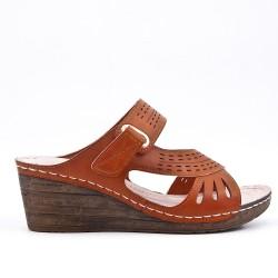 Sandale mule marron à talon compensé