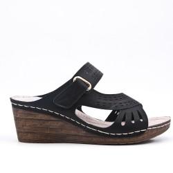 Black mule sandal with wedge heel