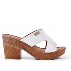 White Mule with big heel