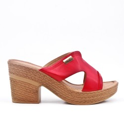 Red Mule with big heel
