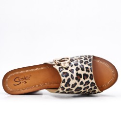 Leopard printed faux leather mule with heel