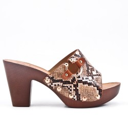 Mule imitation leather printed snake with big heel
