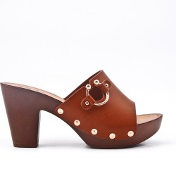 Brown imitation leather mule with large heels