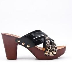 Mule en simili cuir imprimé léopard à gros talon