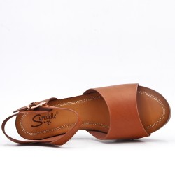 Sandale camel en simili cuir à gros talon