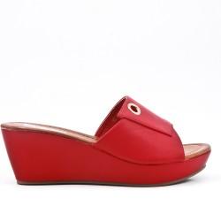Red mule sandal with wedge heel