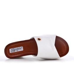 White mule sandal with wedge heel