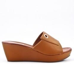 Camel mule sandal with wedge heel