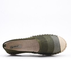 Green faux suede espadrille with rhinestones