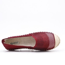 Red wine faux suede espadrille with rhinestones