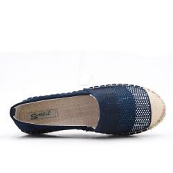 Espadrille bleu en simili daim orné de strass