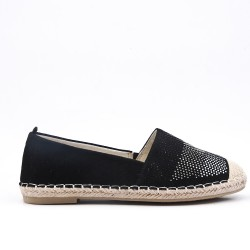 Black faux suede espadrille with rhinestones