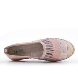 Pink faux suede espadrille with rhinestones