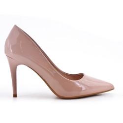 Beige high heel pump
