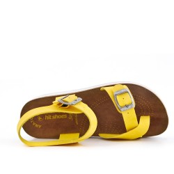 Yellow comfort sandal with buckled straps