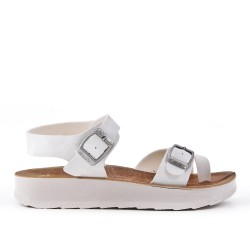 White comfort sandal with buckled straps