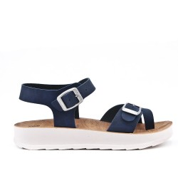 Navy comfort sandal with buckled straps